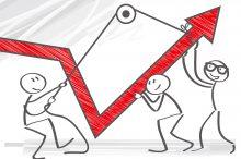 Vector Image of  businessmen pulling graph