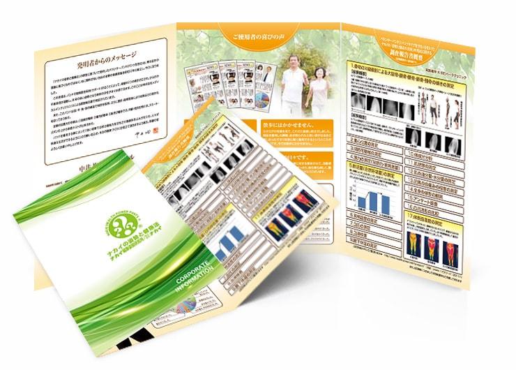 ナカイ健康姿勢研究所会社案内三つ折りパンフレット
